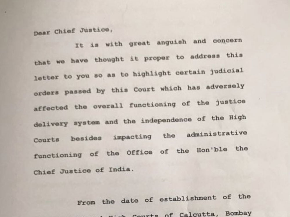 Full text of letter submitted by 4 senior SC judges to CJI